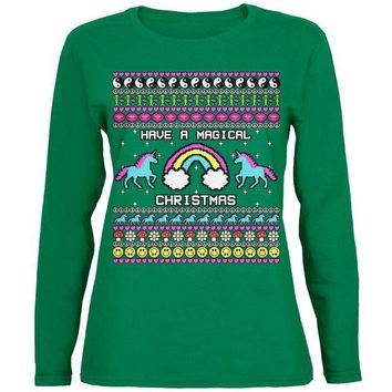 ONETOW Retro 90s Rainbow Unicorn Magical Ugly Christmas Sweater Womens Long Sleeve T Shirt