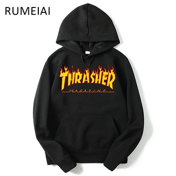 RUMEIAI New Fleece Autumn Winter Trasher Men's Hoodies Streetwear Skateboard Hip hop Hoody Thrasher Sweatshirt Men Women Sweat