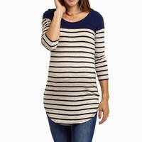 Navy-Colorblock-Striped-Maternity-Top