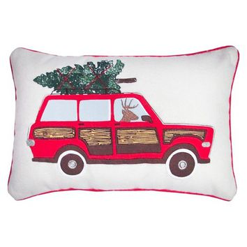 """Car Applique and Embroidery Decorative Pillow with Piping 12""""x18"""" -Threshold™"""
