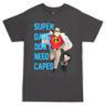 The Incredibles Don't Need Capes Disney Pixar Licensed Adult T-Shirts - Grey