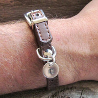 Bracelet Leather Hand Stamped Jewelry Gift Man Men Women Sterling Silver Disc Charm Buckle