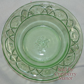 Vintage Federal Rosemary Dutch Rose Green Depression Glass Fruit/Dessert Bowl PG196