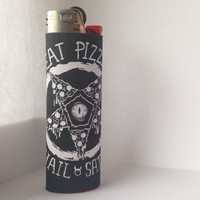 Eat Pizza, Hail Satan Black Custom Full Size Lighter