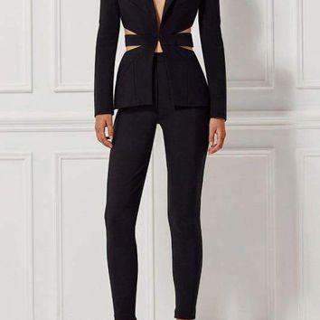 Black Cutout Back Pants Suit