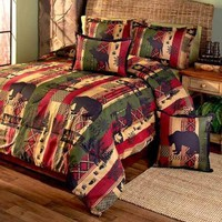 Woodland Dakota Lodge Comforter Set Bears Trees Rustic Cabin Bedroom Home Decor