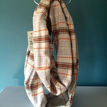 Brown and orange plaid infinity scarf