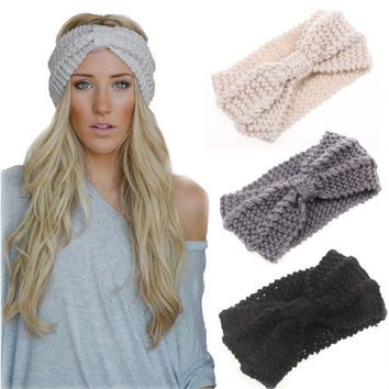 WENDYWU Winter Warmer Ear Knitted Headband Turban For Lady Women Hair Accessories Crochet Hairband Headwrap