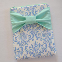 iPad Mini Sleeve iPad Mini Case iPad Mini Cover Kindle Nook Nexus Light Blue and White Damask with Mint Bow