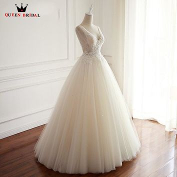 A-line Beading Lace Tulle Flowers Sexy Elegant Romantic Long Wedding Dress