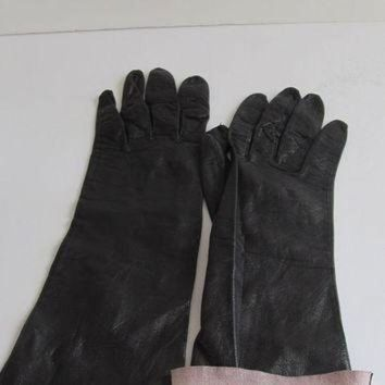 CREYONB RARE Unique Long Black Kid Leather Gloves Lambskin Gloves Soft Leather Gloves Driving