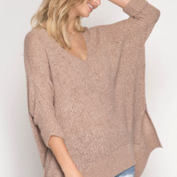 Women's High-Low Pullover Sweater with Folded Cuffs