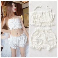 Cute Two Piece Laced White Top and Bottom Set