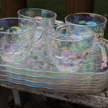 Vintage 8 pc Federal Glass Iridescent snack trays and cups in the Yorktown pattern, MCM snack plates / cups luncheon plates, vintage glass