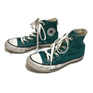 vintage kids converse all star low tops teal chuck taylors hipster boho boys size 3 gi