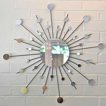 Metal Sunburst Wall Art Interior Design Sun Mirror Starburst Atomic Modern Contemporary Retro Style