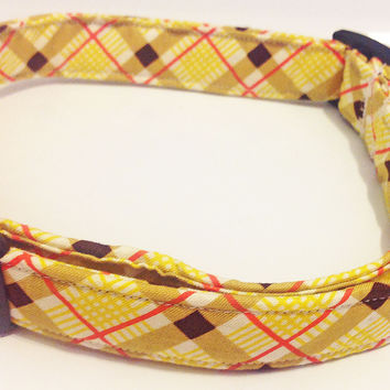 Yellow & Brown Plaid Argyle Collar for Male Dog