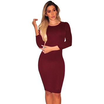 Burgundy Hollow-out Back Long Sleeve Bodycon Dress