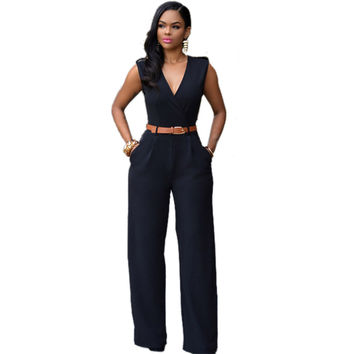 New Fashion Casual Ladies Jumpsuit V-Neck Solid Color Summer Jumpsuit Rompers Women Jumpsuit
