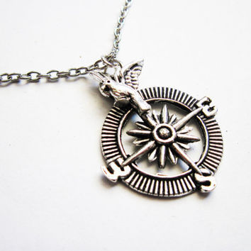 Silver Compass Necklace, Bird Necklace Jewelry, Nautical Necklace, Compass Pendant, Sparrow Flying Bird, Navigation Jewelry