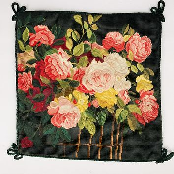 Stunning Needlepoint Petit Point Pillow Cover Basket of Blooms Reds & Pinks Roses Flowers