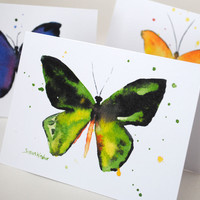 Butterfly Watercolor Note Cards Set of 6