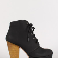 Lace Up Stacked Heel Platform Bootie