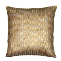 "Applique of Sequins Gold Pillow Cover (18"" x 18"")"