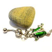 Green Enamel Frog Dangle Belly Button Ring