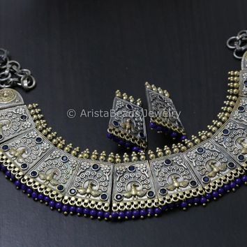 Blue Dual Tone Ethnic Necklace
