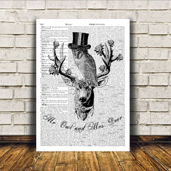 Stag poster Deer art Wall decor Dictionary print RTA315
