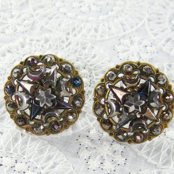 Antique Victorian Button Earrings, Cut Steel, Brass, Crescent Moon Flower Triangle Beads, Screwback, 1800s Jewelry, Valentines Day Gift