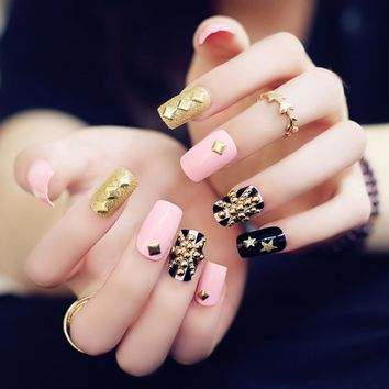 24pcs/set fashion style Flag gold beads rivets full set of fake nail resin false nail with designs Press on nails with glue A116