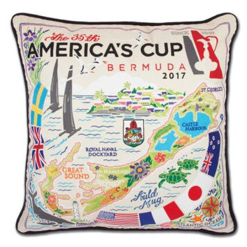 AMERICA'S CUP EMBROIDERED PILLOW