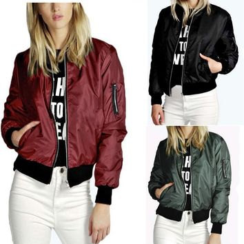 Fashion Solid Color Zipper Coat Jacket
