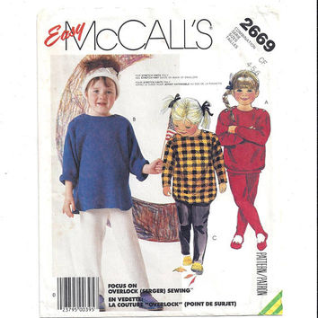 McCall's 2669 Pattern for Children's Top & Pants for Stretch Knits, From 1986, Sizes 4, 5, 6, Easy McCall's, Vintage Pattern, Home Sewing
