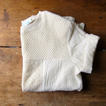 Natural Cotton Gauze T-shirt Cream Crochet Knit Oversized Tee Minimal White Cotton Top Open Knit Boho Blouse Vintage 90s Womens Large