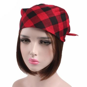 Women Men Plaid Bandanas Head Wrap Turban Hair Spring,Summer Cotton Accessories Headband