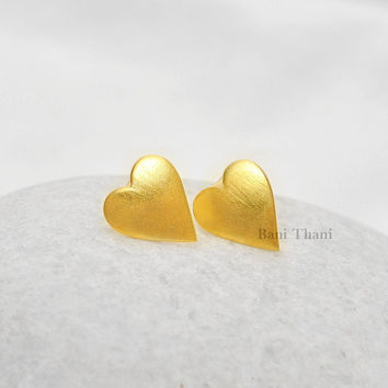 Handmade Designer Heart Stud Micron Gold Plated 925 Sterling Silver Earring Jewelry - #2794