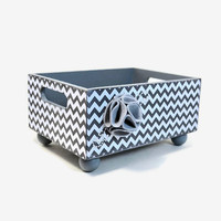 Storage caddy, countertop organizer, Chevron grey and white zigzag design with a felt flower