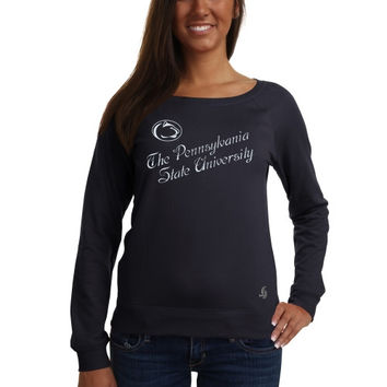 Penn State Nittany Lions Ladies Off The Shoulder Sweatshirt - Navy Blue