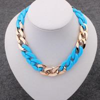 Fashion CCB Punk Chain Chunky Pendant Necklaces Women Big Collar Chokers Statement Necklaces Women Jewelry XN605