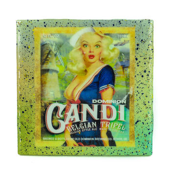 Handmade Coaster Old Dominion - Candi craft beer label - Handmade Recycled Tile Coaster
