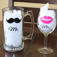 Mr. & Mrs. Wine Glass and Mug Set  by MBellaBowtique on Etsy