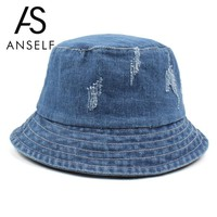Anself Women Men Bonnie Bucket Hat Denim Distressed Brim Visor Sun Shade Fishing Packable Summer Cap Hip Hop Fishing Hat 2018