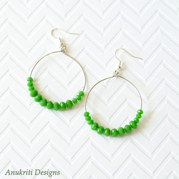 Green crystal large hoop earrings **Free US Shipping ** Large hoop earrings, green hoop earrings, dangle earrings, crystal earrings