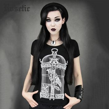 Gothic Vintage Bird Cage with Raven Black Vampire Witch Sexy Cool Harajuku Casual Tee