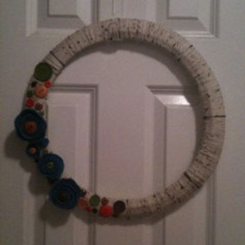 SALE Skinny Yarn & Button Wreath