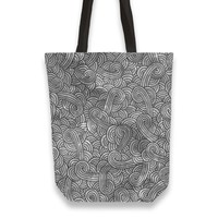 'Grey and black swirls doodles' Tote Bags by Savousepate on miPic