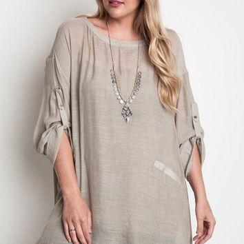 Plus Size Semi Sheer High Collared Shift Tunic - Taupe